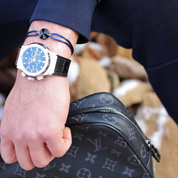 bracelet pour homme en cristal noir