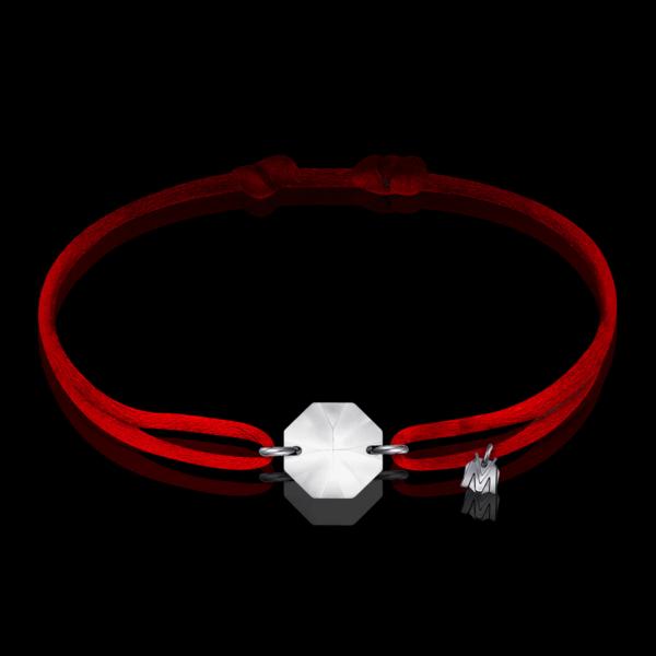 bracelet cristal clair sur cordon rouge michael vessiere