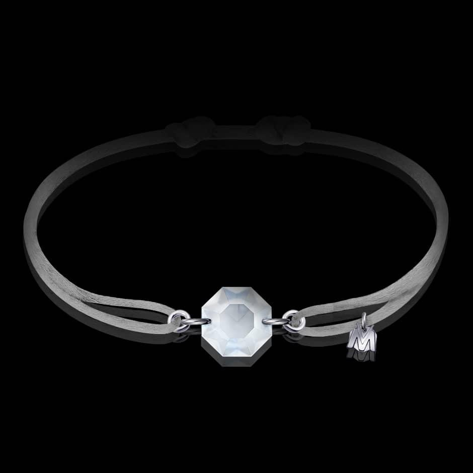 bracelet en cristal octogone et cordon gris
