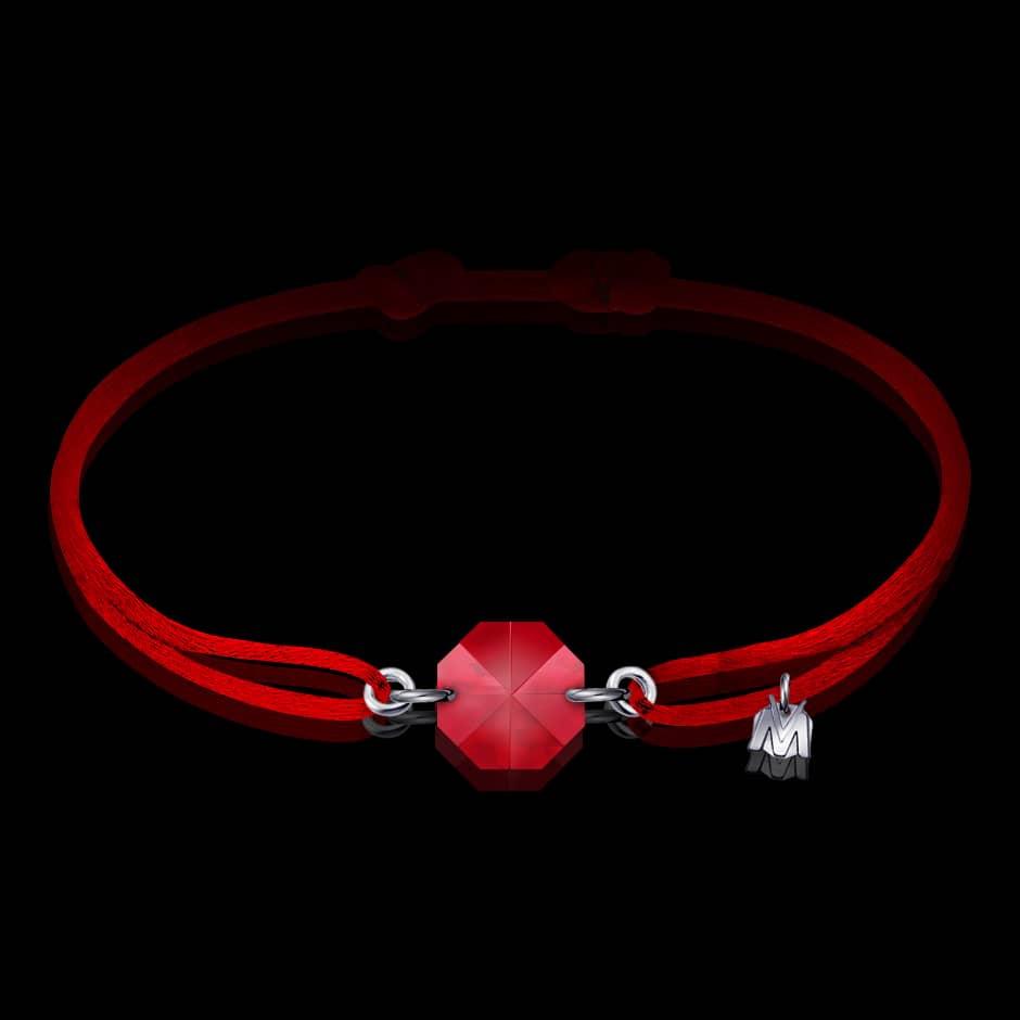 bracelet en cristal rouge pour femme sur cordon
