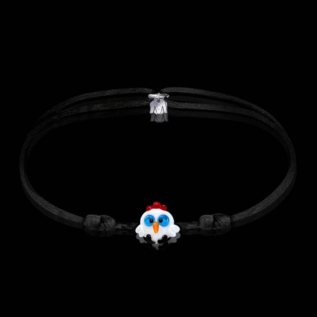 bracelet porte bonheur Maurice le coq en verre pour homme femme et enfant