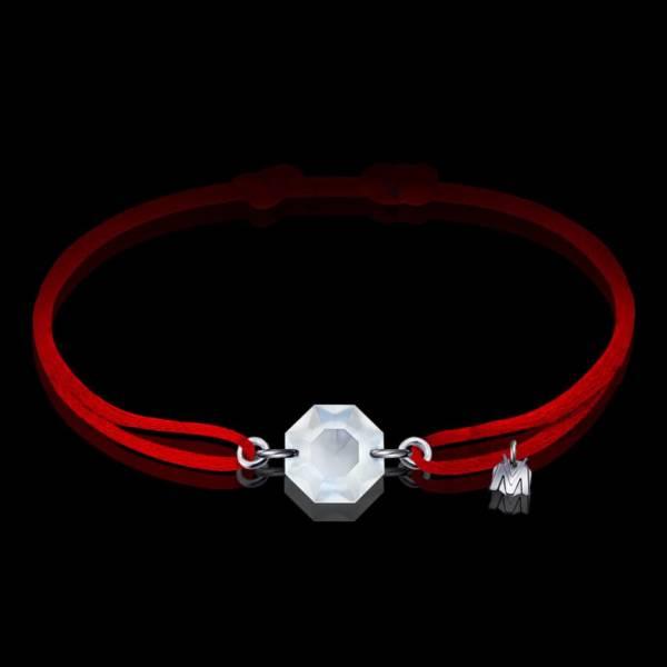 bracelet porte bonheur en cristal octogone et cordon rouge