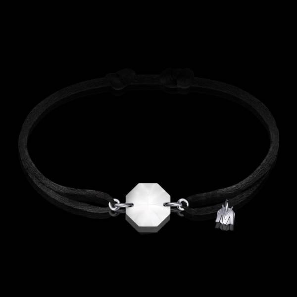 bracelet porte bonheur en cristal clair et cordon noir pour homme et femme