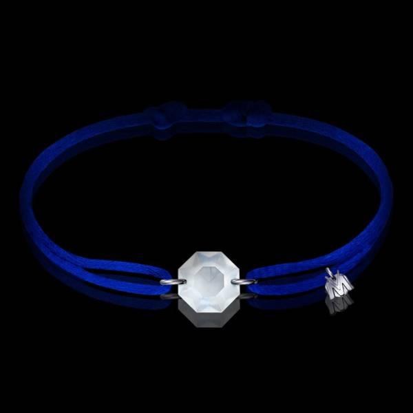 bracelet porte bonheur octogone cristal cordon bleu electrique