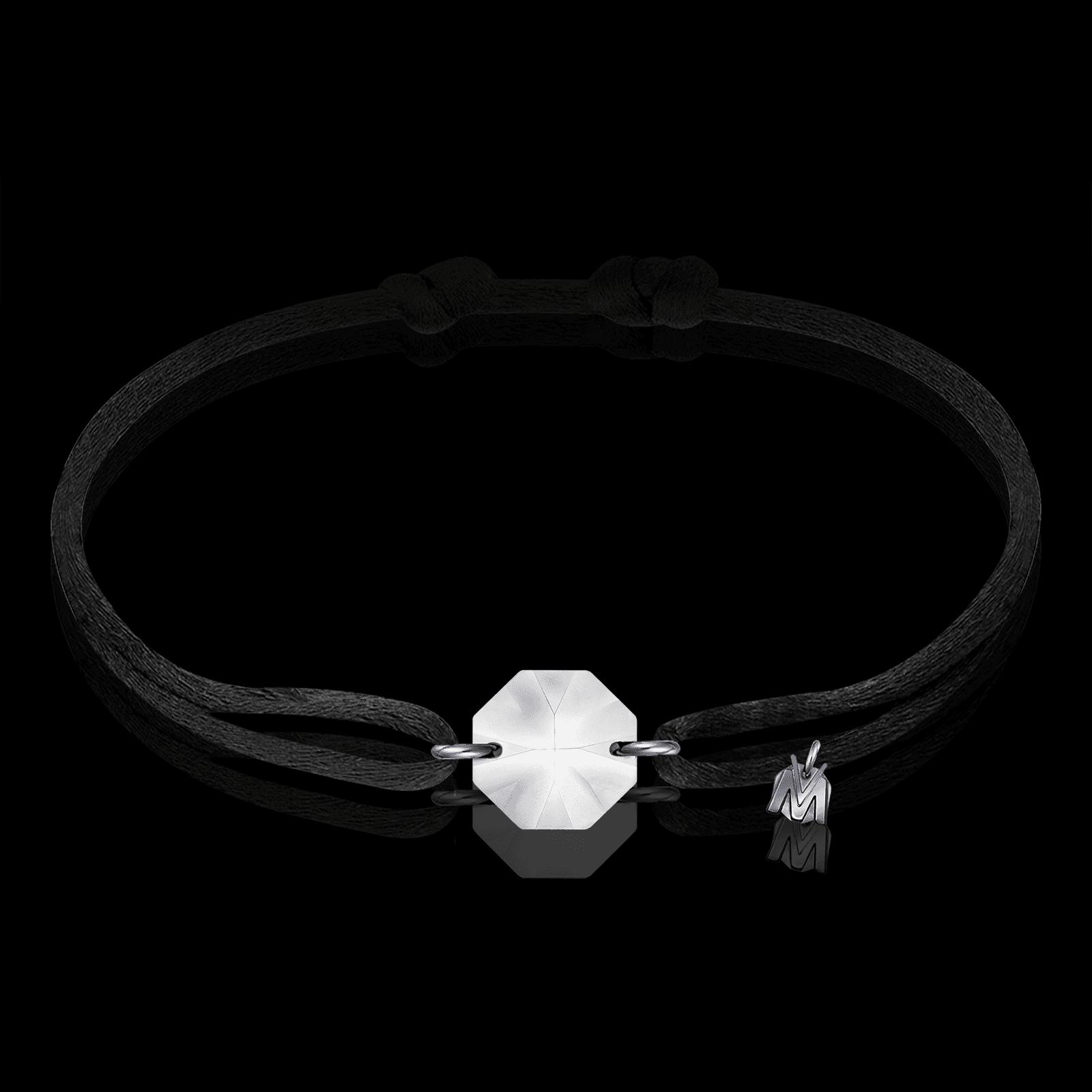 bracelet en cristal porte bonheur sable en lorraine cordon noir