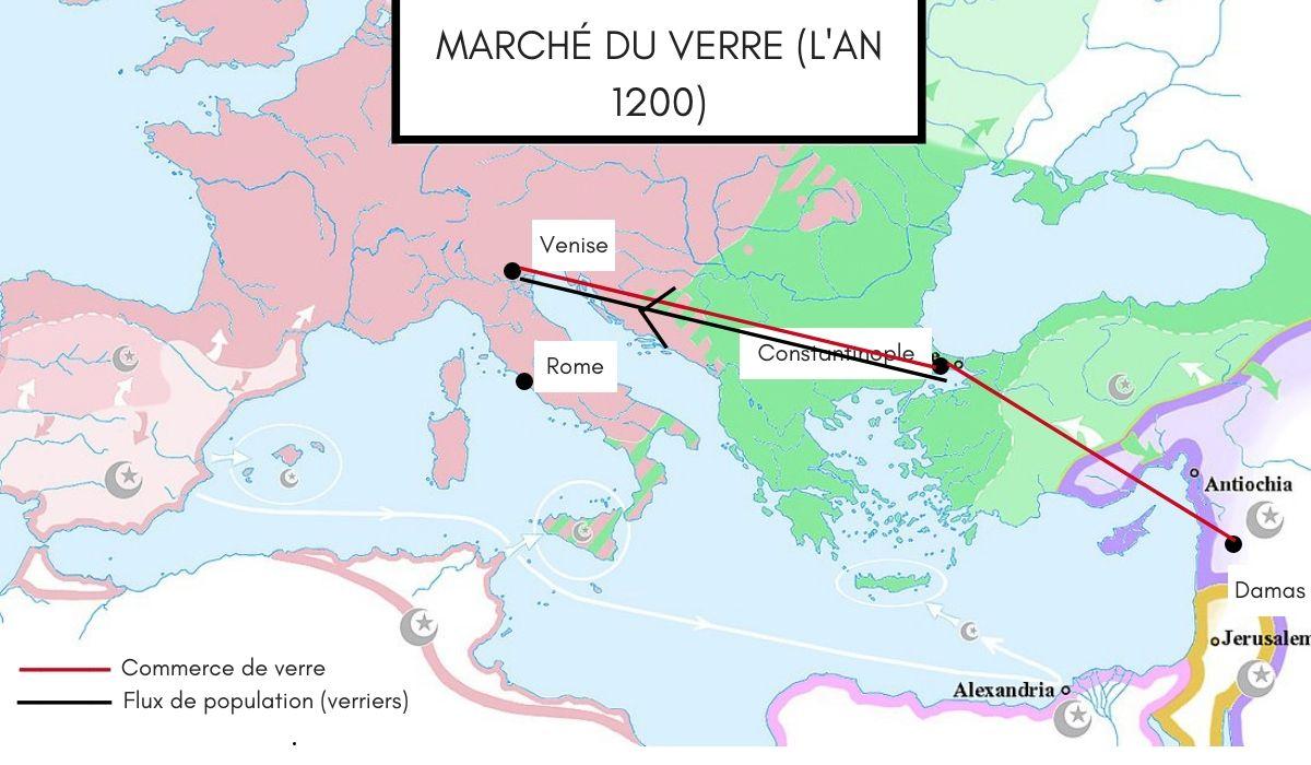 Histoire-verre-carte-commerce-venise-damas-constantinople