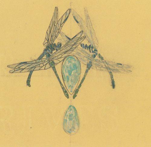 Dessin-Rene-Lalique-quatre-libellules