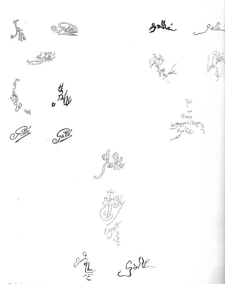 les differentes signature Emile galle