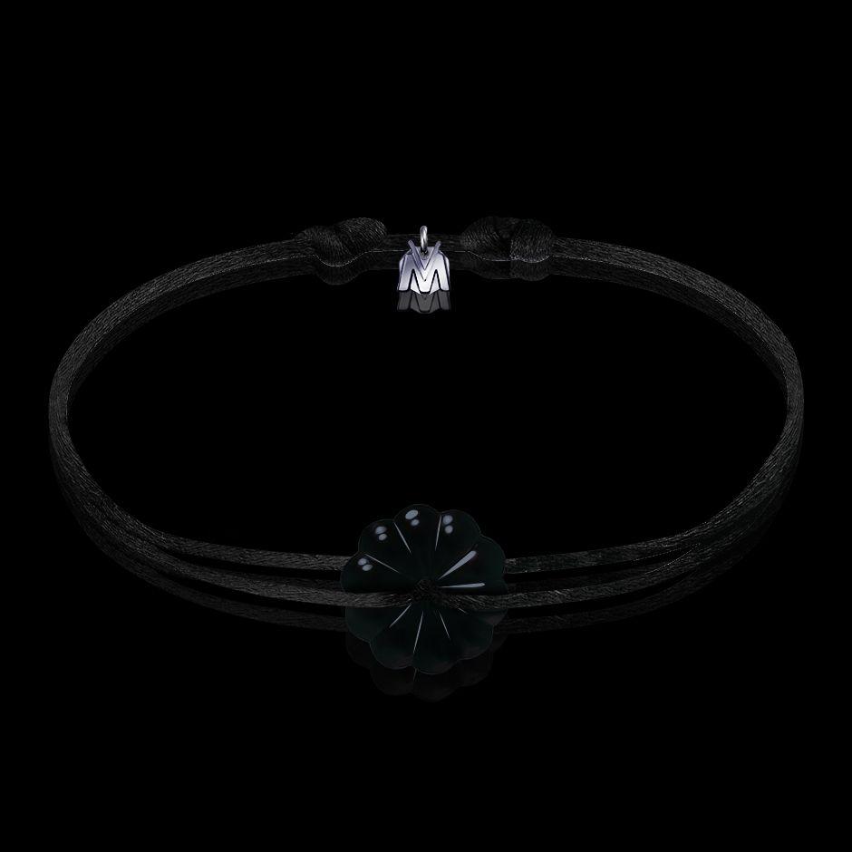 bracelet art nouveau rosace cristal noir