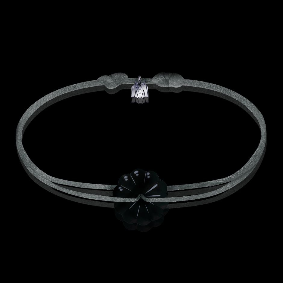 bracelet homme rosace cristal noir et cordon gris