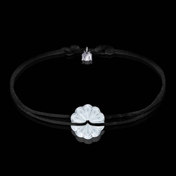 bracelet en cristal clair et cordon motif rosace