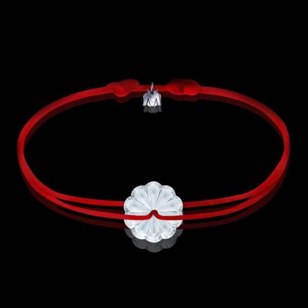 bracelet rosace en cristal clair et cordon rouge
