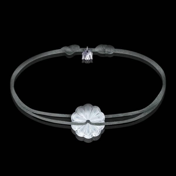 bracelet art nouveau rosace en cristal clair et cordon gris