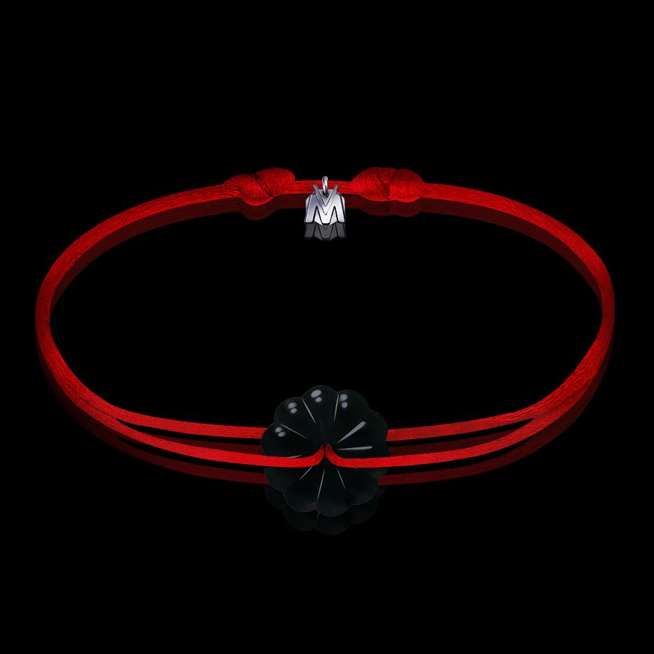 bracelet homme art nouveau rosace cristal noir et cordon rouge
