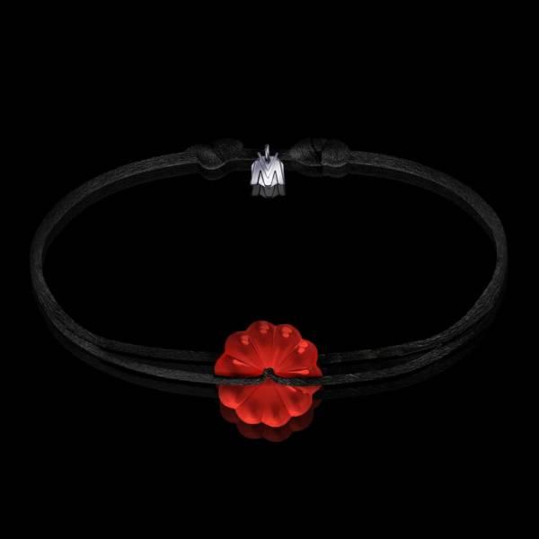 bracelet rosace en cristal rouge cordon noir