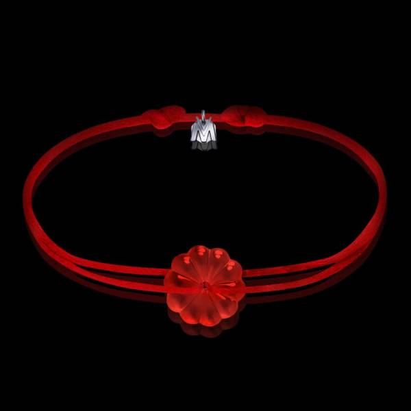 bracelet art nouveau rosace en cristal rouge et cordon rouge