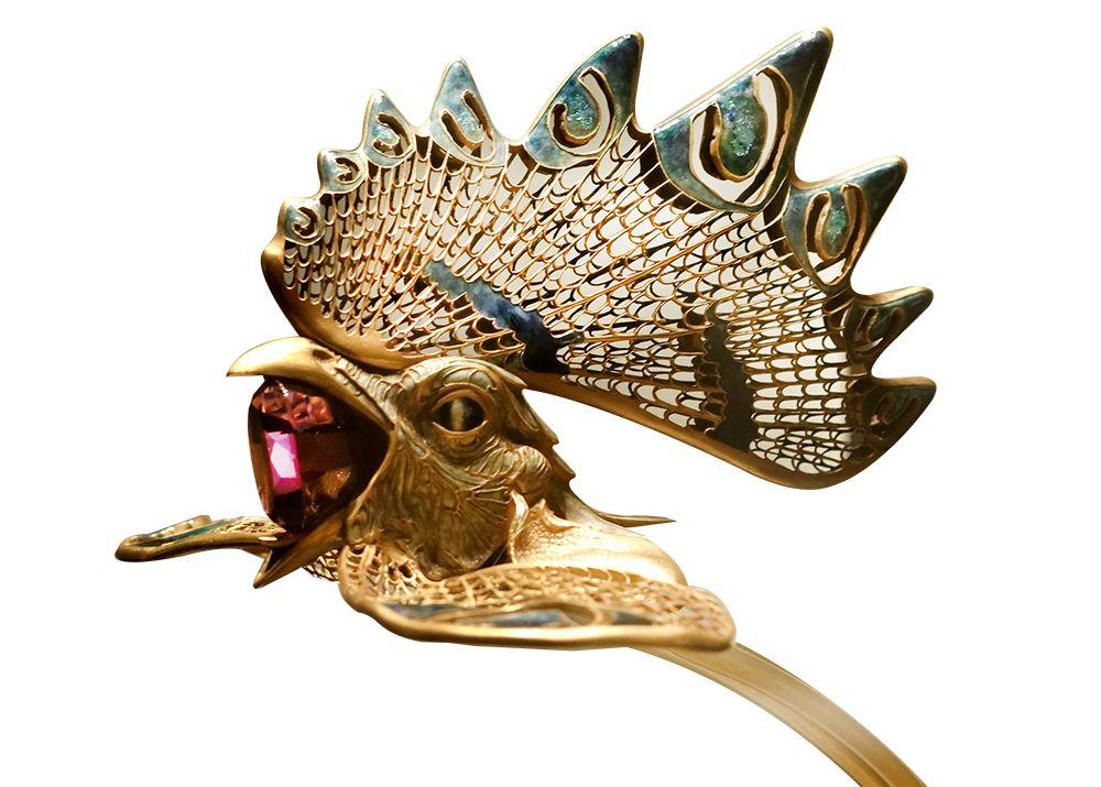 diademe coq or et pierre précieuse de rene lalique