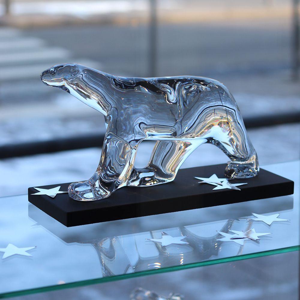 sculpture Pompon ours en cristal de Baccarat