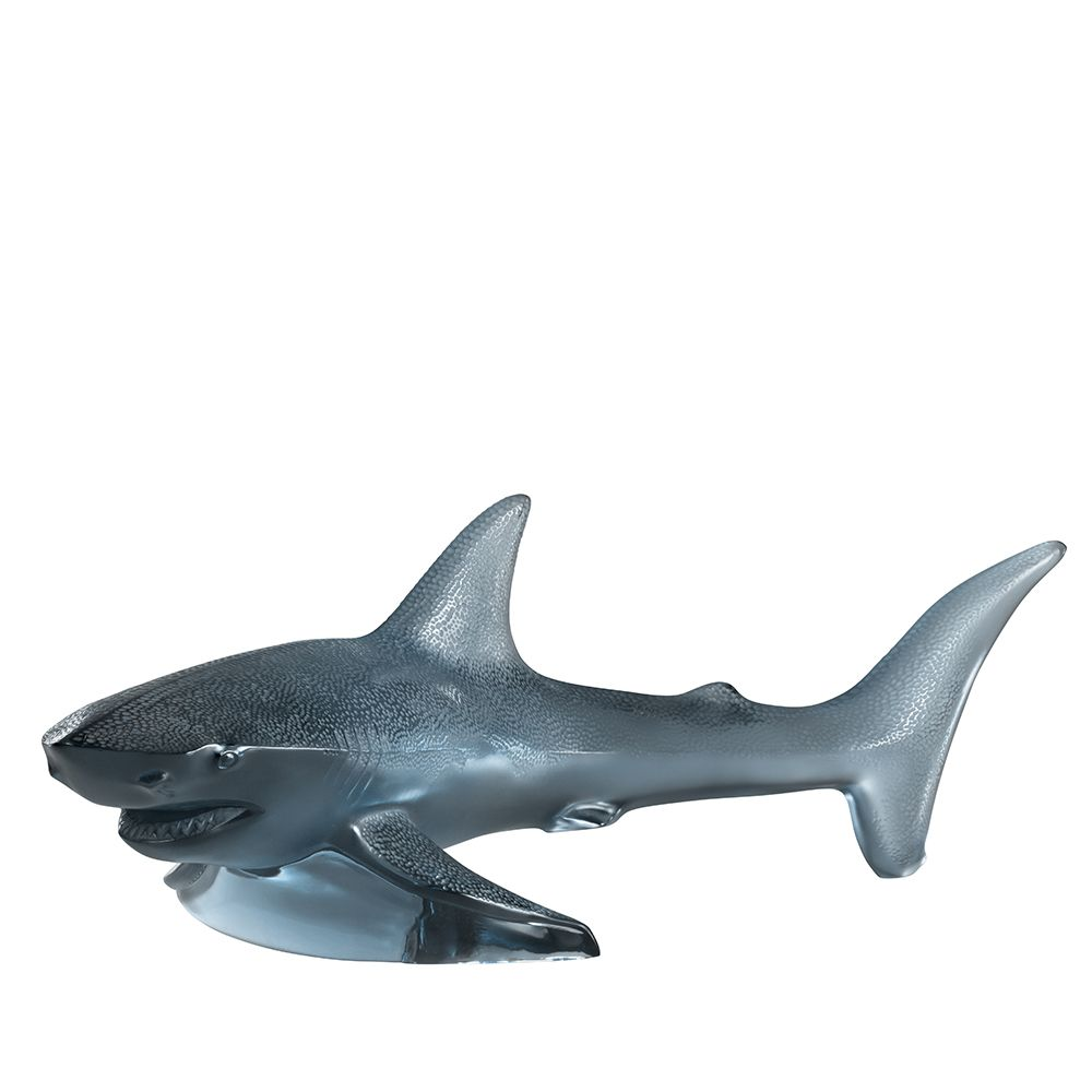 requin en cristal bleu lalique