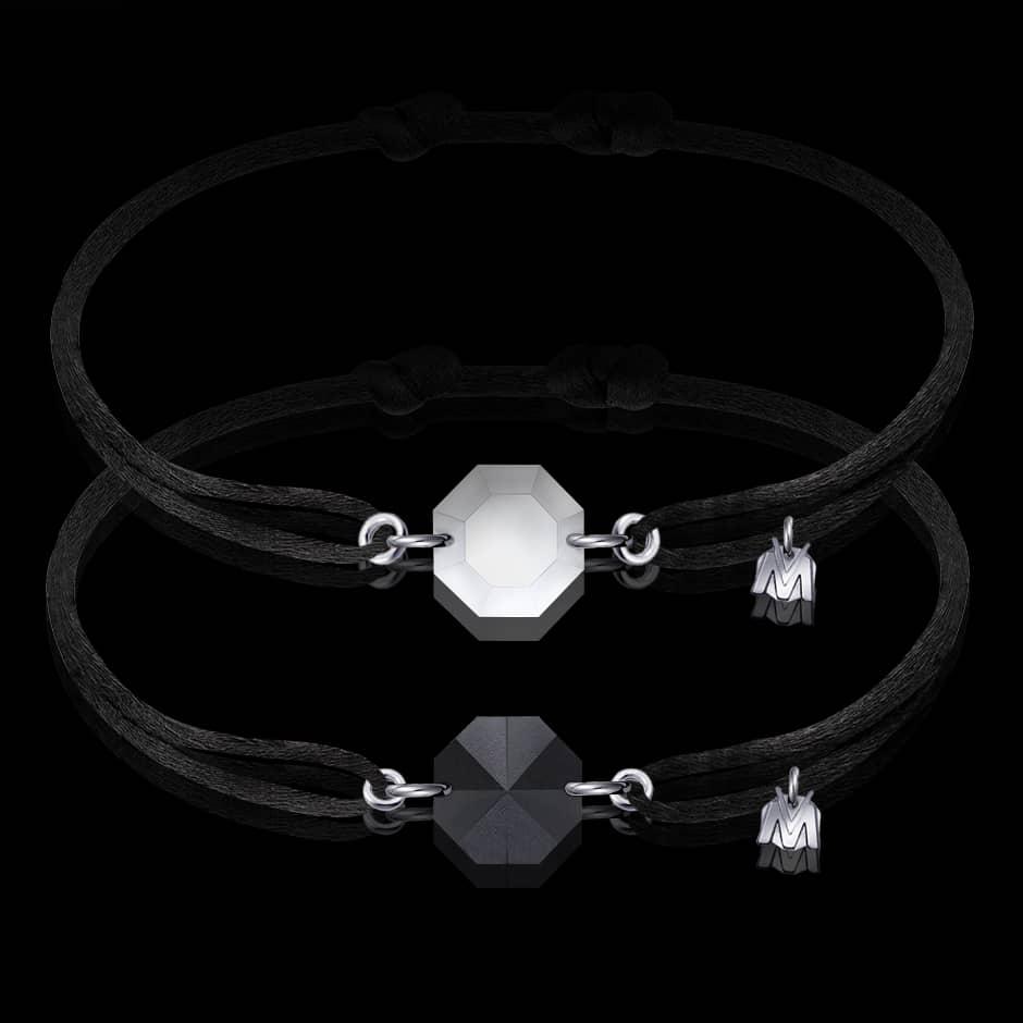 bracelet duo de couple pour homme et femme en cristal