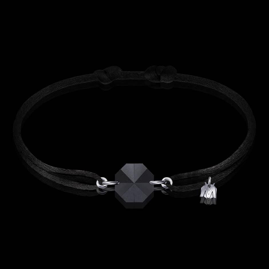bracelet en cristal noir pour homme par michael vessiere