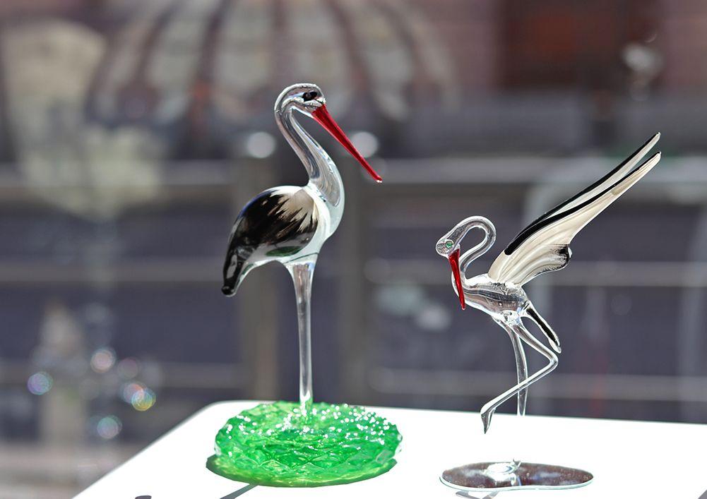 sculpture cigogne en verre et cristal