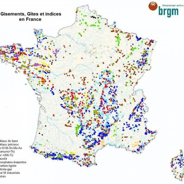 carte des mineraux en France selon brgm