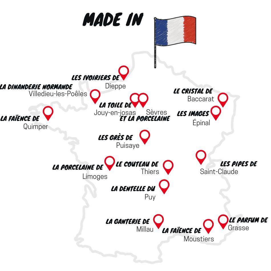carte de France des savoir-faire