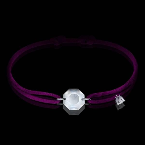bracelet pierre de cristal porte bonheur et cordon violet