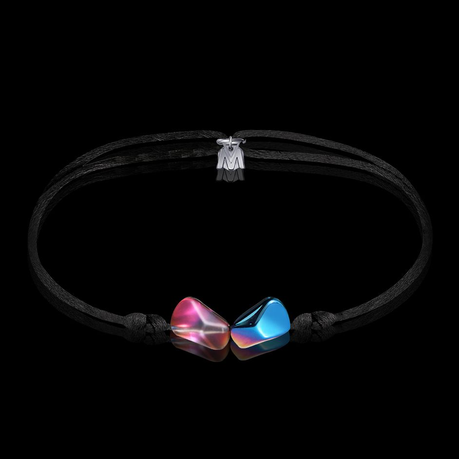 bracelet toi et moi en cristal scarabee bleu