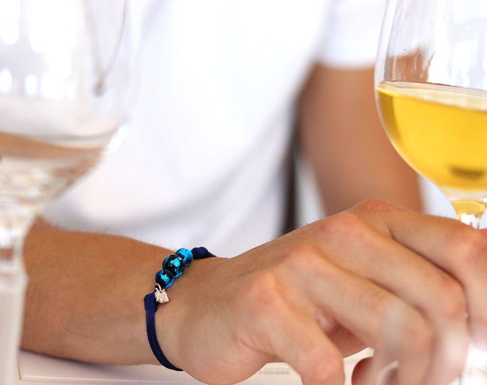 bracelet de perle bleu