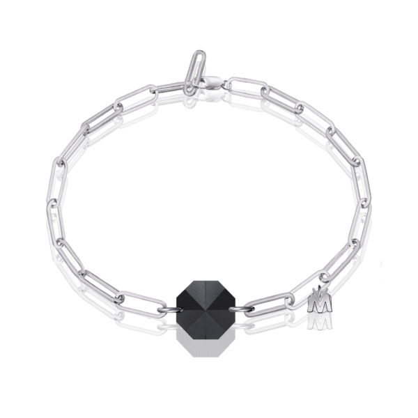bracelet en cristal noir argent pour homme