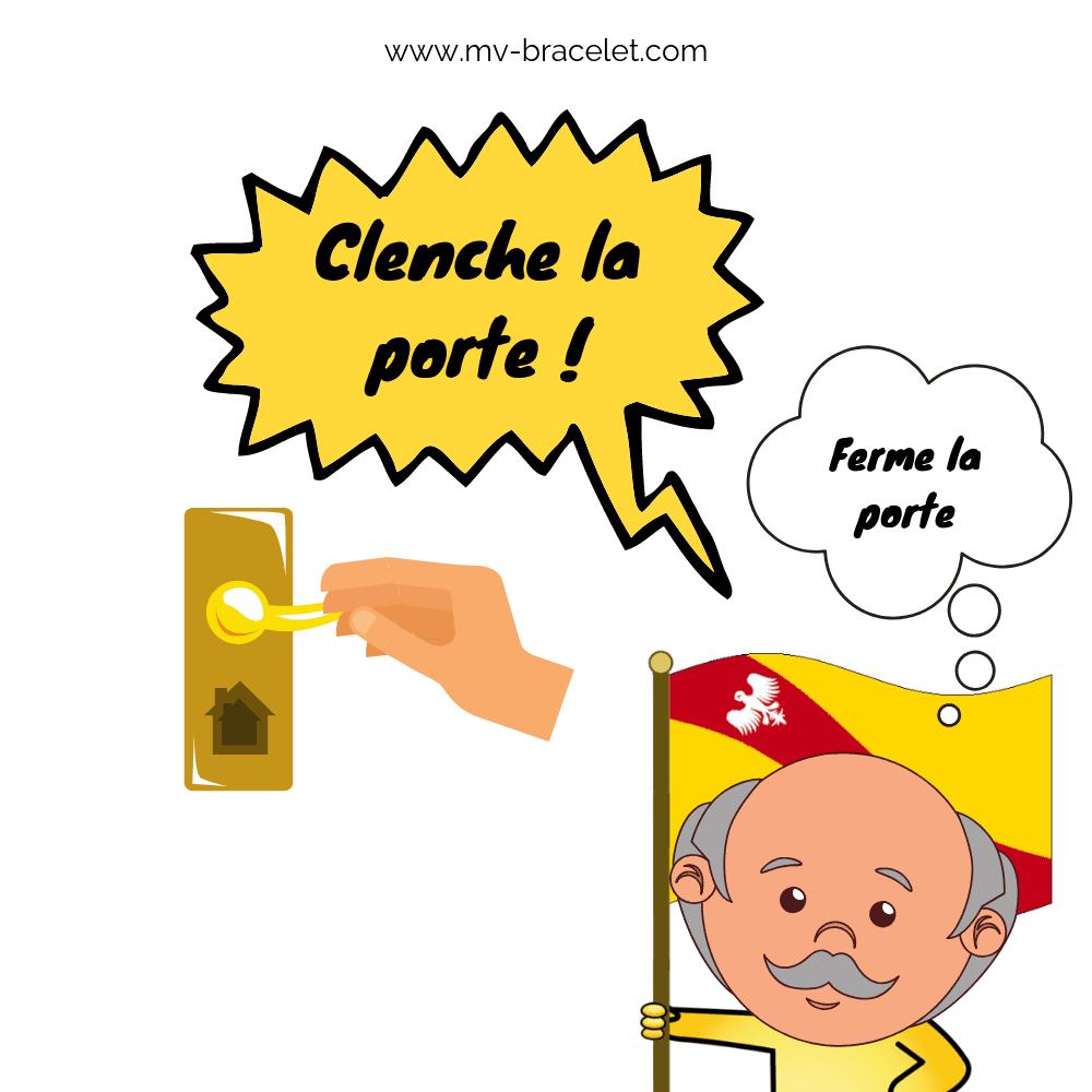 clenche une porte pour fermer la porte