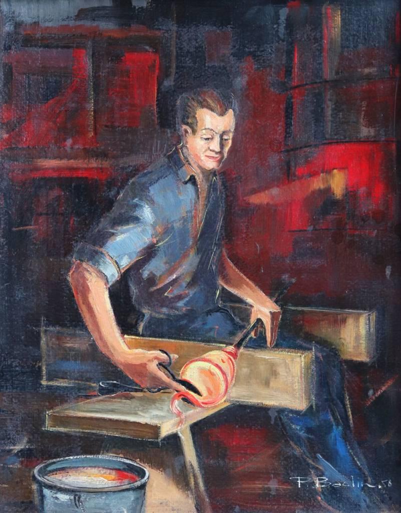 peinture sur huile artisan verrier