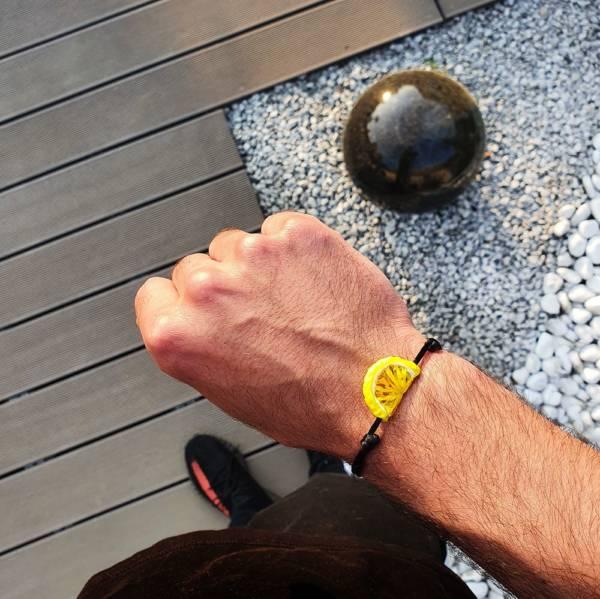 bracelet en verre citron