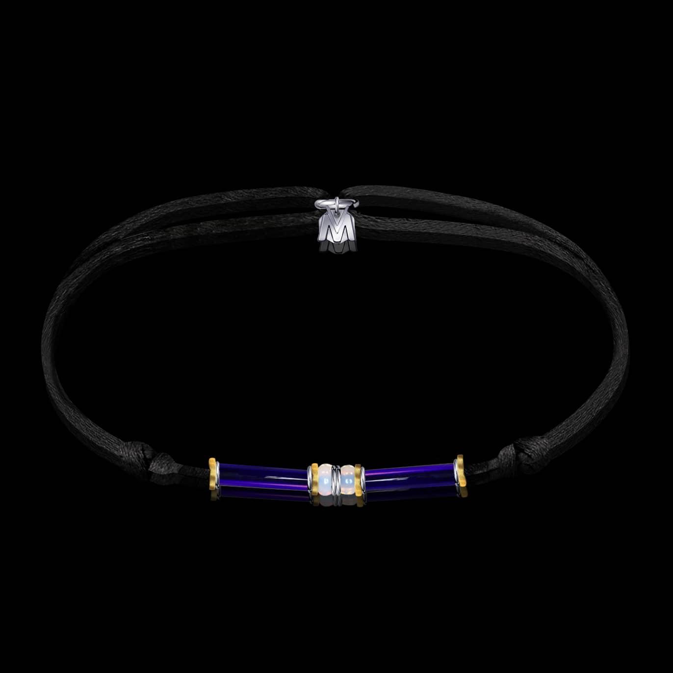 bracelet ramses en verre de murano sur cordon