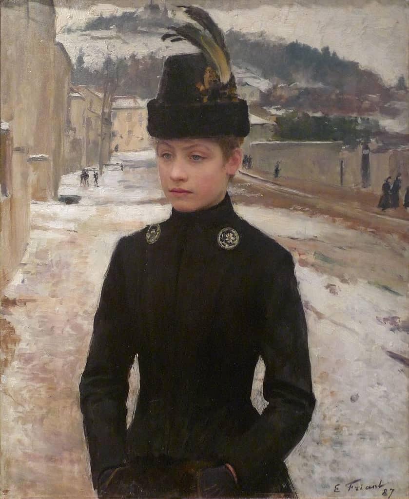 Emile-FRIANT-Jeune-nancienne-dans-un-paysage-neige-1887